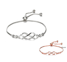 Adjustable Infinity Bracelet Crystal Silver Rose Gold Bangle Ladies Girls Gift