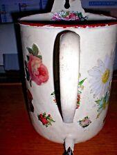 ancien pot en tôle émaillée art déco revisite pour déco fleurs séchées ou autres