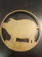 "Vintage Antique Solid Brass Footed 7.5"" Pig Swine Trivet Wall Decor Kitschy boho"