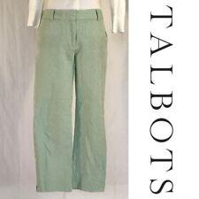 TALBOTS Signature Green White Striped Seersucker Capri Pants - Size 6 - MSRP $75