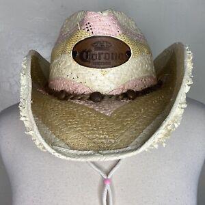 CORONA Jen West Premium Rawhide Straw Cowboy Cowgirl Mexico Western Hat w/ Strap