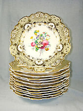 SET of (12) Antique English Staffordshire DAVENPORT Hand Painted Plates