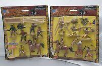 2 Pack Cowboys & Indianer Kunststoff Figuren inkl Pferde - Wild Frontier Vintage