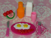 Barbie Doll Size Accessory BREAKFAST FOOD & DRINK SET Dream House Kitchen LOT