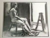 KEVIN KADAR Charcoal Male Nude Study Drawing Signed