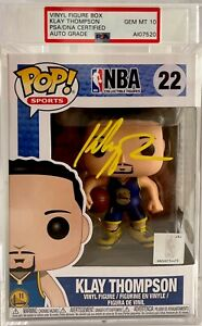 Klay Thompson Signed Golden State Warriors Funko Pop #22 PSA AI07520 GEM 10