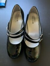 American Eagle girl's Size 5 1/2 Black Faux Pattern Leather With Glitter Heel