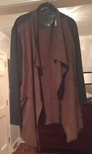 $119 Travelers Collection by Chico's Faux Suede Open Front Cognac/Gray Sz 4