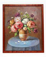 Roses Bouquet Still Life  20 x 24 Art Oil Painting on Canvas w/Custom Frame