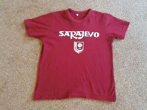 Boys Maroon T-Shirt, Fits Age 7-8. Bosnia Herzegovina Souvenir, FK Sarajevo FC