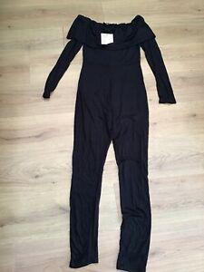 WOMENS BLACK BARDOT SKINNY  LEG JUMPSUIT MISSGUIDED SIZE 10 BNWT