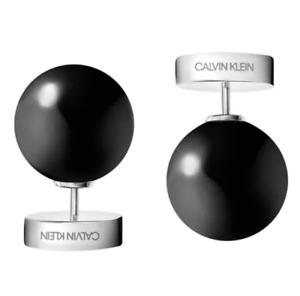 CALVIN KLEIN KJ9RME040300 BLACK ONYX BALL BUBBLY STUD EARRINGS LOGO BOXED £69