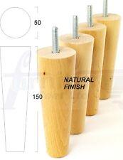 4x PIEDINI IN LEGNO SEDIA GAMBA DI LEGNO NATURALE 150 mm M8 (8 MM) PER DIVANO, sedie, letti ecc.