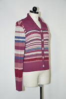 St John Sport Purple Pink Stripe Button Front Mock Neck Cardigan Sweater Women M