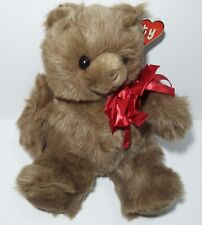 TY Pudgy Brown Teddy Bear Stuffed Animal Plush Tags Red Bow 16 Inches Tall 1993