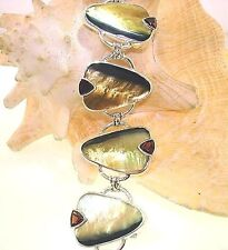 Marta Howell STER Silver Black-Lip Mother of Pearl Garnet Gemstone Bracelet #8