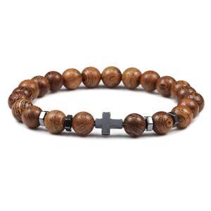 Prayer Beads Bracelet Cross Hematite & Wood Jesus Rosary UK SELLER - FAST & FREE