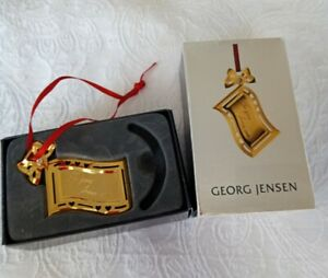 """Georg Jensen Christmas Decoration Ornament Gold Plated """"to you from me Card"""" VGC"""