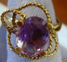 1 CM oval AMETHYST 14K Gold 4.5 g Estate Ring 6 1/2 can size