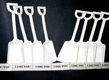 30 White Toy Shovels & 30 I Dig You Stickers Made in America Lead Free No BPA