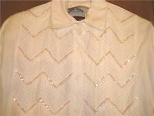 Ladies Western Show Shirt WhiteSequins SzM bust 41 Nice