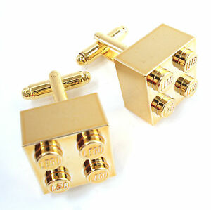 Metallic Gold Cufflinks made with real LEGO bricks wedding father day groom gift