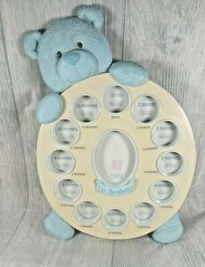 Baby Boy's Blue Bear  Picture Frame, First Year by Month, by Russ