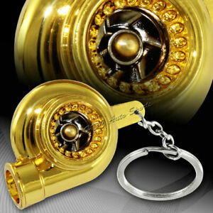 Chrome Spinning Turbo Turbine Key Chain with Ring USA Seller!!