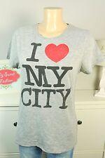 ZARA T-shirt print I LOVE MY CITY gris Taille S 36 (bd430)