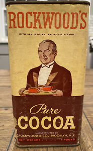 VINTAGE ROCKWOOD'S PURE COCOA 1 LB CANISTER 7.25X3.5X2.5