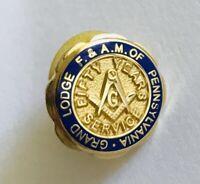 F & AM Of Pennsylvania Grand Lodge 50 Years Masonic Pin Badge Rare Vintage (R8)