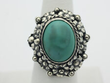 Sterling Silver .925 Chunky Vintage Gothic Bead Turquoise Adjustable Ring Z560