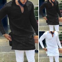 Men's Long Sleeve Dashiki Shirt Top Blouse Deep V Neck Causal Long Shirt Kaftan
