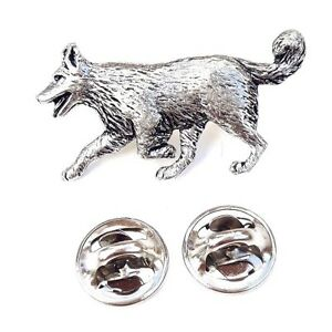 Border Collie Handcrafted in Solid Pewter in UK Lapel Pin Badge
