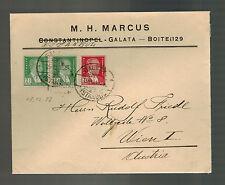 1928 Istanbul Galata Turkey Cover to Vienna Austria Judaica M H Marcus