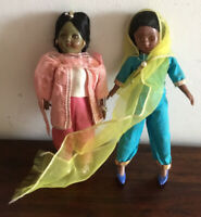 Gorgeous Pair Of Vintage Hard Plastic Indian Dolls