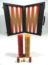 Vintage Bakelite Backgammon Game Pieces Red Butterscotch Doubling Cube