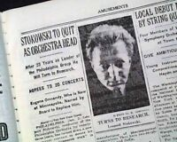 LEOPOLD STOKOWSKI British Conductor Philadelphia Orchestra TO QUIT1936 Newspaper