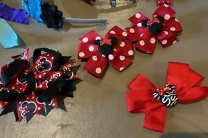 Lot of 50+ hair bows, Assorted sizes & clip styles, Disney included