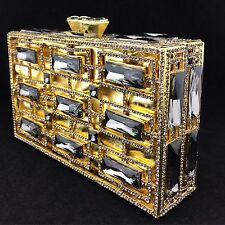 Luxury Hard Box Evening Clutch/Bag with Smokey Swarovski Crystals Gold Tone
