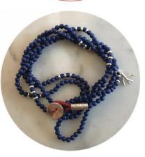 ISAIA SARACINO LAPIS AND SILVER BEAD WRAP BRACELET SAPPHIRE JEWLERY Lazuli