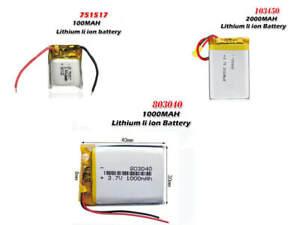 3.7V 2000mAh 103450 LiPo | 3.7V 1000mAh/ 100mAh LiPo 751517 Rechargeable Battery