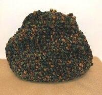 Saks Fifth Avenue Vintage Kisslock Blue Green Orange Brown Knit Chenille Bag IT