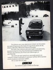 1973 FIAT 128 Vintage Original Smal Print AD Black car photo mountain race CA