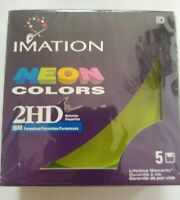 """Imation Neon Colors 2HD 3.5"""" Floppy Diskettes 1.44 MB IBM Formatted"""