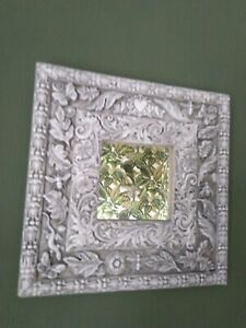 Beautiful Unique Hand Made Mirror Grey Antiqued Butterflies Insects Leaves.