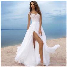 Cap Sleeves Summer Beach Wedding Dresses Open Back High Split Bridal Gowns
