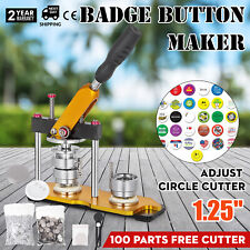32mm(1.25'') Badge Button Maker Machine + 100 Buttons Circle Badge Punch Press