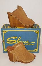 Sbicca Pitch Tan Suede Fringe Wedge Slip Ons Slides Sandal Sz.9 M New In Box $80