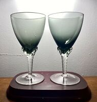 2PCS VTG Sasaki Coronation Smoke Crystal Twisted Stem Wine Water Glasses 5.75""